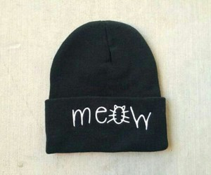 meow, beanie, and black image