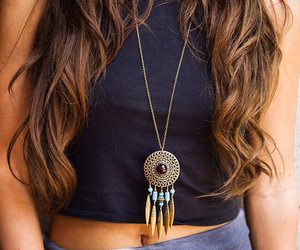 dream catcher, long hair, and maxi skirt image