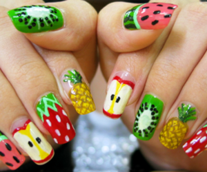 nails, fruit, and apple image