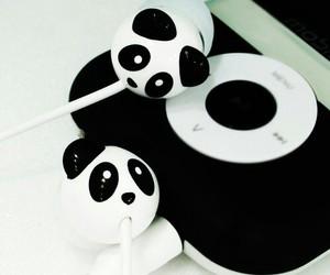 panda, headphones, and music image