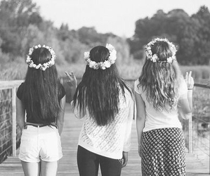 friends, girl, and flowers image