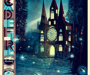 poster, arcade fire, and church image