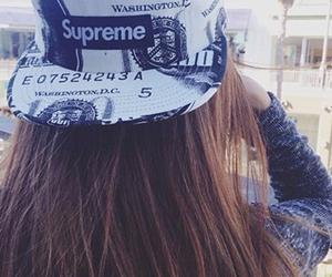 girl, cap, and supreme image