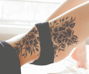 rose, thigh, and tattoo image