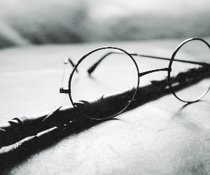 harry potter, glasses, and wand image