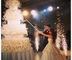 wedding, cake, and couple image