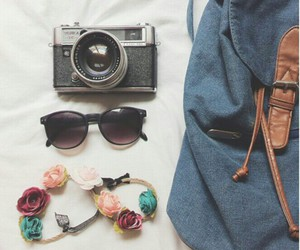 film camera, flower crown, and sunnies image