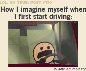 driving, funny, and scared image