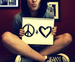 girl, peace, and love image