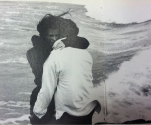 love, black and white, and sea image