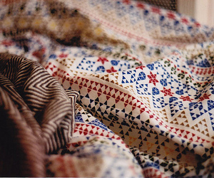 bed, pattern, and fabric image