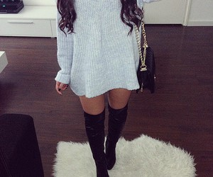 fashion, over knee boots, and gray image