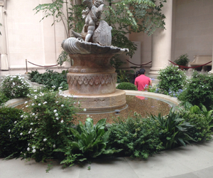 fountain, plants, and soft grunge image