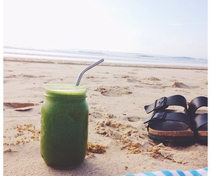 beach, birkenstocks, and green juice image