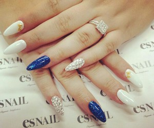 blue, white, and nail image