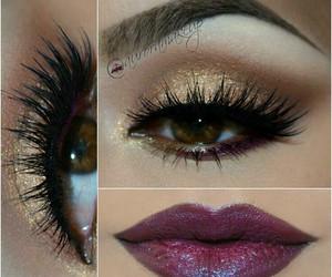 makeup, smokey makeup, and wine lips image