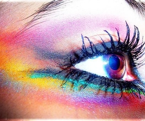 eyes, makeup, and rainbow image