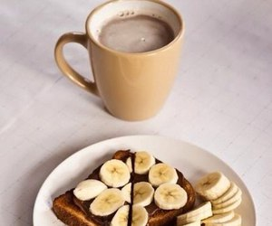 food, banana, and coffee image