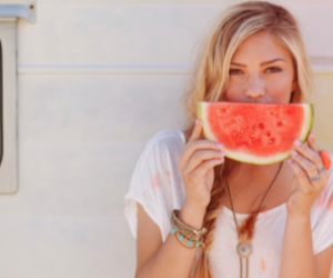 girl and watermelon image