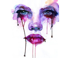 art, face, and watercolor image
