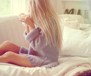 bed, blonde, and cozy image