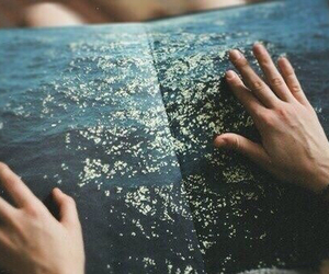 book, sea, and hands image