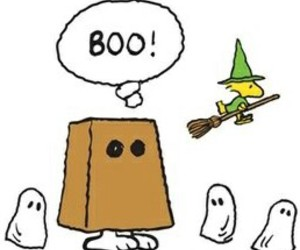charlie brown, ghost, and Halloween image