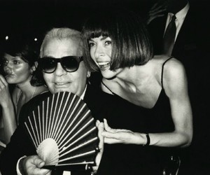 Anna Wintour, black and white, and fashion image