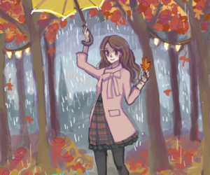 art, autumn, and brunette image