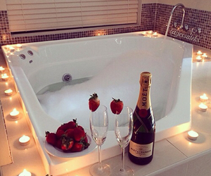 bath, romantic, and strawberry image