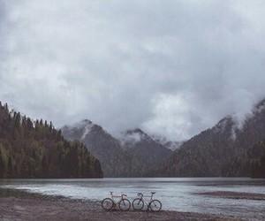 lake, bike, and clouds image
