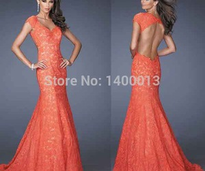long evening dress, sexy evening dresses, and coral prom dress image