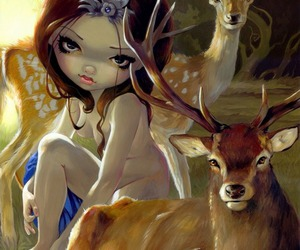 deer, girl, and jasmine becket-griffith image