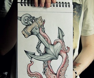 anchor, drawing, and octopus image