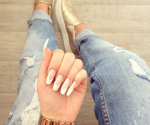 gold, jeans, and nails art image