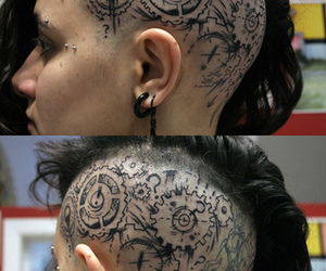 head, tatouage ​, and gears image