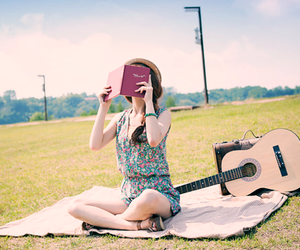 girl, book, and guitar image