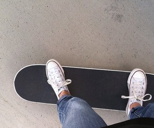 converse, skateboard, and jeans image