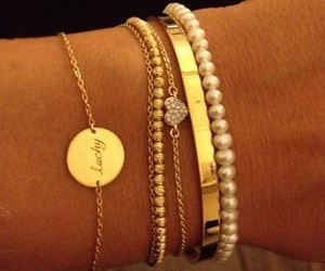 bracelet, gold, and pearls image