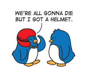 helmet, funny, and penguin image