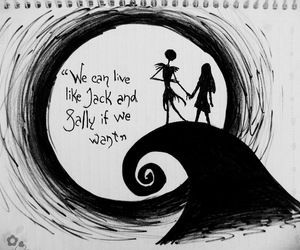 b&w, nightmare before christmas, and drawing image
