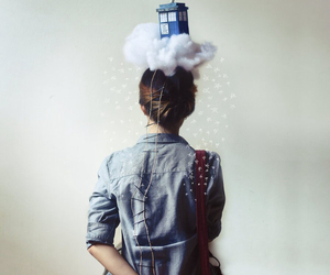 doctor who, clouds, and tardis image
