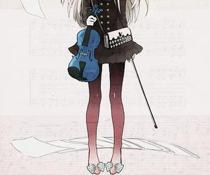 anime, violin, and kawaii image