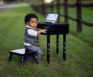 baby, piano, and kids image