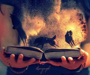 book, wolf, and magic image