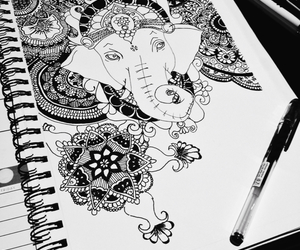 black and white, drawing, and Ganesh image