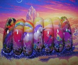 nails, nail art, and unicorn image