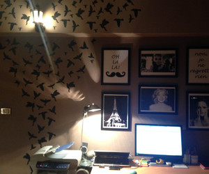 art, audrey hepburn, and birds image