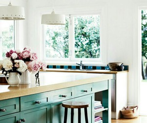 kitchen, flowers, and interior image