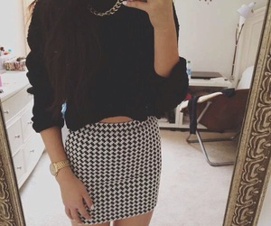 black and white, gold necklace, and bodycon skirt image